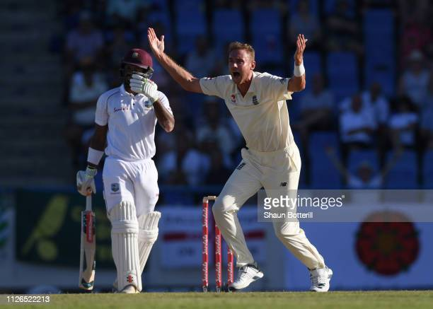 Stuart Broad of England appeals during Day One of the 2nd Test match between West Indies and England at Sir Vivian Richards Stadium on January 31...