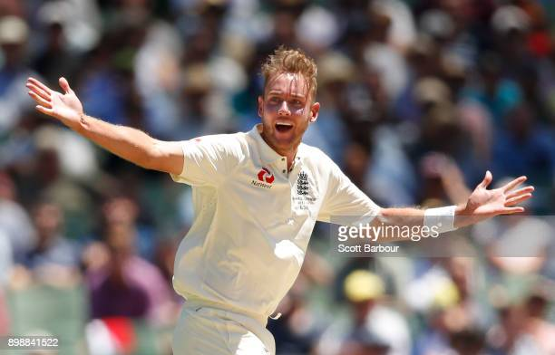 Stuart Broad of England appeals for LBW against Shaun Marsh of Australia which was given out by the DRS during day two of the Fourth Test Match in...