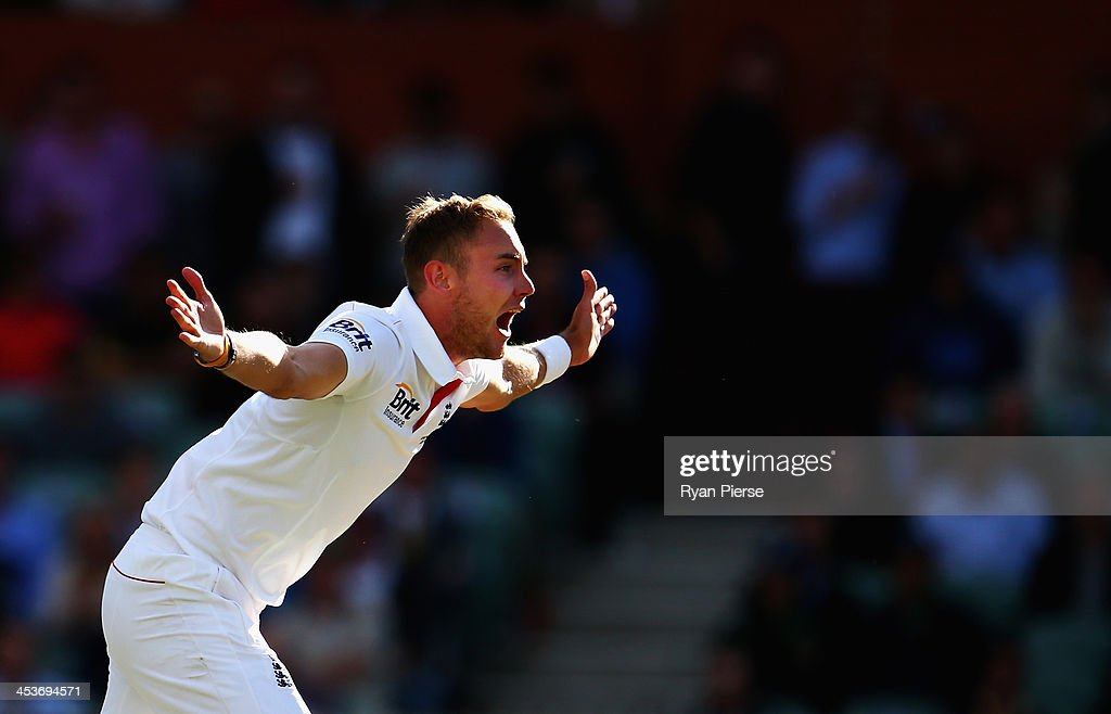 Stuart Broad of England appeals for the wicket of Brad Haddin of Australia during day one of the Second Ashes Test Match between Australia and England at Adelaide Oval on December 5, 2013 in Adelaide, Australia.