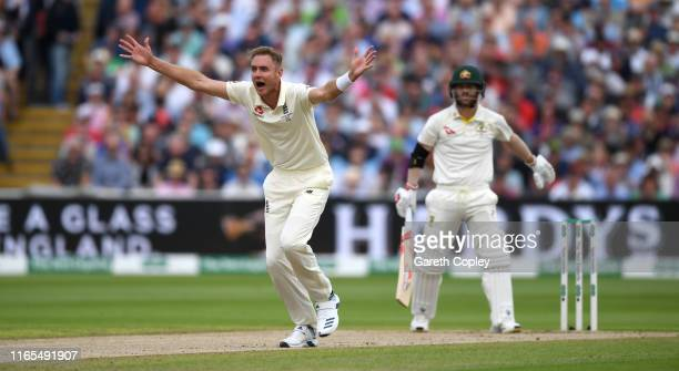 Stuart Broad of England appeals for the wicket of David Warner of Australia during day one of the 1st Specsavers Ashes Test between England and...