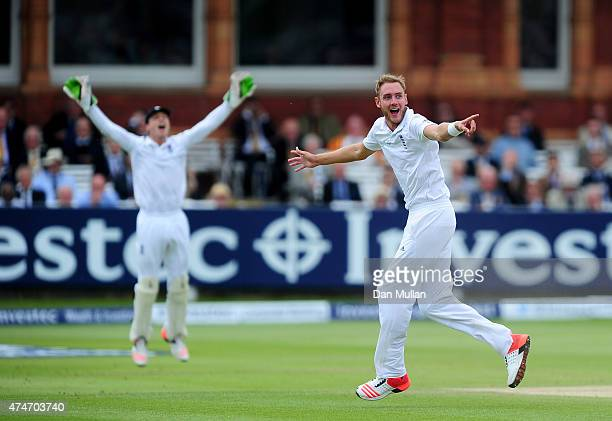 Stuart Broad of England appeals for the wicket of Ross Taylor of New Zealand during day five of the 1st Investec Test Match between England and New...