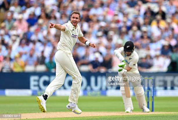 Stuart Broad of England appeals for the wicket of Tom Latham of New Zealand during day two of the second Test Match at Edgbaston on June 11, 2021 in...
