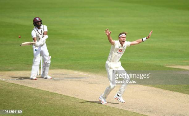 Stuart Broad of England appeals successfully for the wicket of Kraigg Brathwaite of West Indies for his 500th Test Wicket during Day Five of the Ruth...