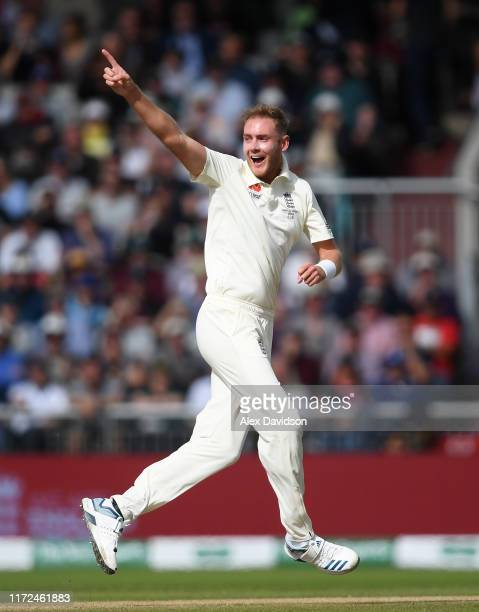 Stuart Broad of England appeals successfully for the wicket of Travis Head of Australia during Day Two of the 4th Specsavers Ashes Test between...