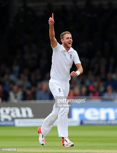Stuart Broad of England appeals unsuccessfully for the wicket of Brendon McCullum of New Zealand during day three of the 1st Investec Test Match...