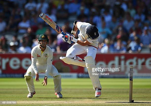 Stuart Broad of England avoids a bouncer during day four of the 2nd Investec Ashes Test match between England and Australia at Lord's Cricket Ground...