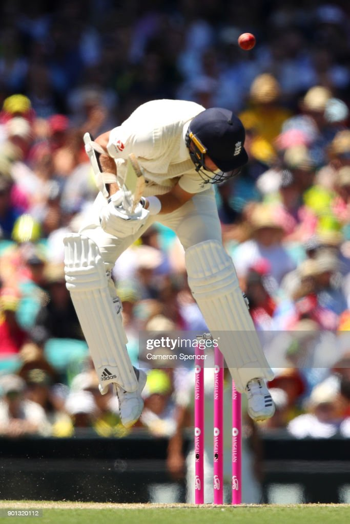 Stuart Broad of England avoids a high delivery during day two of the Fifth Test match in the 2017/18 Ashes Series between Australia and England at Sydney Cricket Ground on January 5, 2018 in Sydney, Australia.