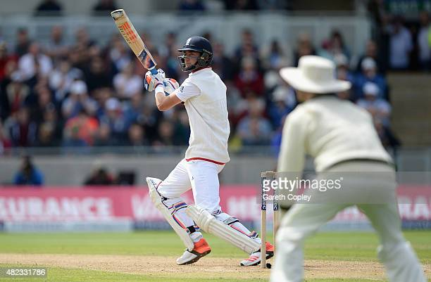 Stuart Broad of England bats during day two of the 3rd Investec Ashes Test match between England and Australia at Edgbaston on July 30 2015 in...