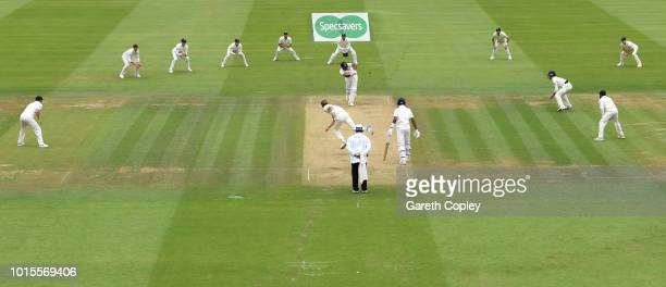 Stuart Broad of England bowls at Hardik Pandya of India with the whole field in during day four of the 2nd Specsavers Test between England and India...