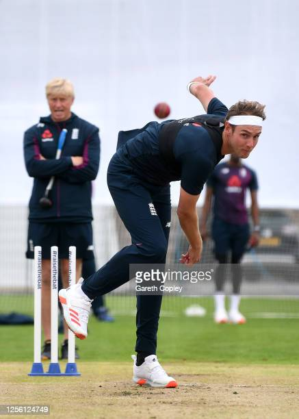 Stuart Broad of England bowls during a England Nets Session at Emirates Old Trafford on July 14 2020 in Manchester England