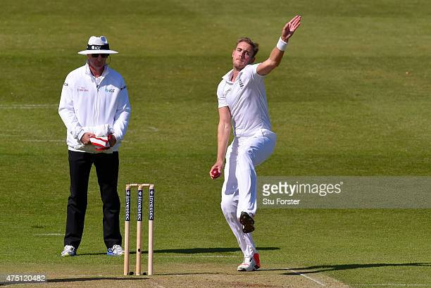 Stuart Broad of England bowls during day one of the 2nd Investec test match between England and New Zealand at Headingley on May 29, 2015 in Leeds,...