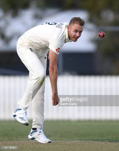 Stuart Broad of England bowls during day one of the tour match between New Zealand XI and England at Cobham Oval on November 15, 2019 in Whangarei,...