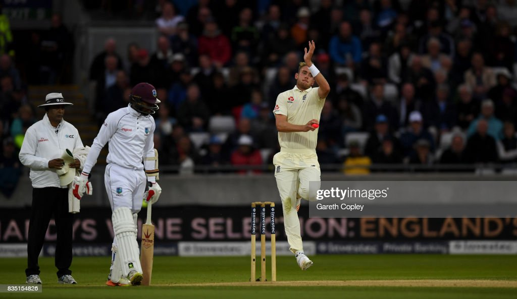 Stuart Broad of England bowls during day two of the 1st Investec Test match between England and West Indies at Edgbaston on August 18, 2017 in Birmingham, England.