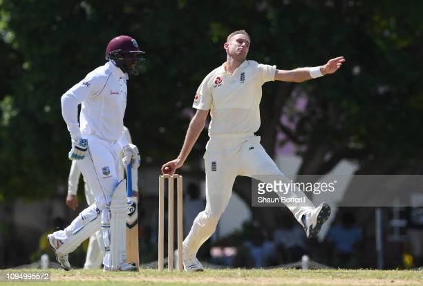 Stuart Broad of England bowls during day two of the match between West Indies Board XI and England at the Three Ws Oval on January 16 2019 in...