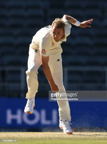 Stuart Broad of England bowls during the Fourth Test at the Wanderers between England and South Africa on January 27 2020 in Johannesburg South Africa
