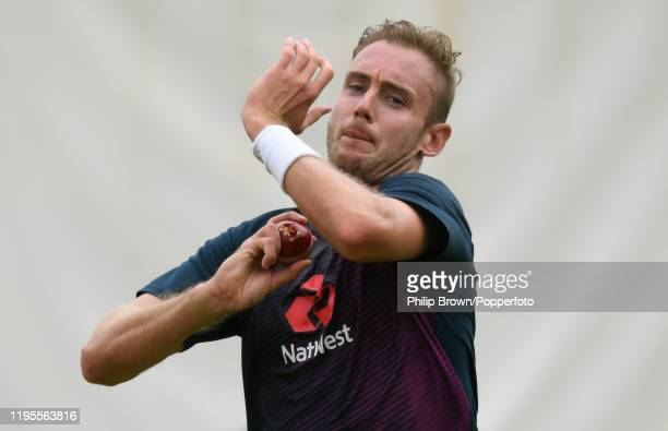 Stuart Broad of England bowls in the nets before the first test against South Africa on December 23, 2019 in Centurion, South Africa.
