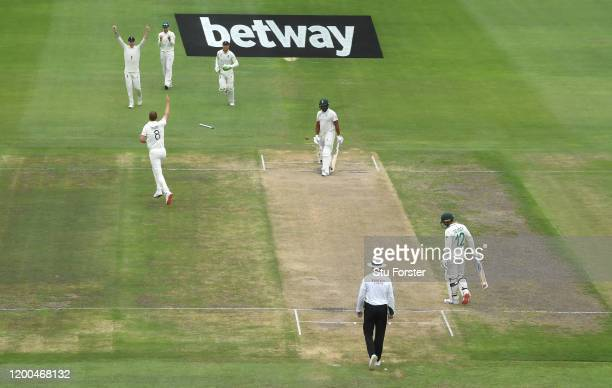 Stuart Broad of England celebrates after bowling Vernon Philander during Day Four of the Third Test between South Africa and England at St George's...