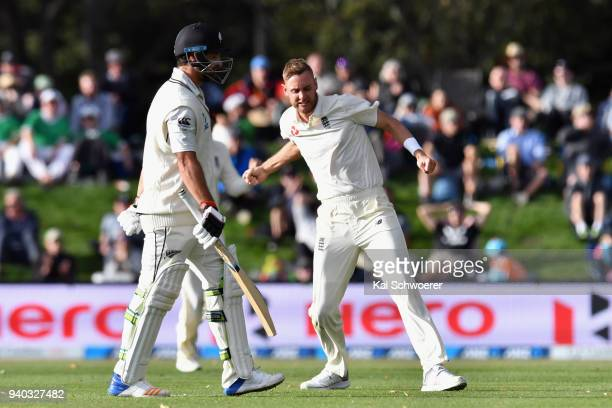 Stuart Broad of England celebrates after dismissing Colin de Grandhomme of New Zealand during day two of the Second Test match between New Zealand...