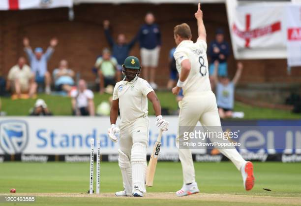 Stuart Broad of England celebrates after dismissing Vernon Philander of South Africa during Day Four of the Third Test between England and South...