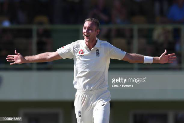 Stuart Broad of England celebrates after taking a hattrick during day two of the match between West Indies Board XI and England at the Three Ws Oval...