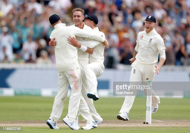 Stuart Broad of England celebrates after taking a wicket during Day One of the 1st Specsavers Ashes Test between England and Australia at Edgbaston...