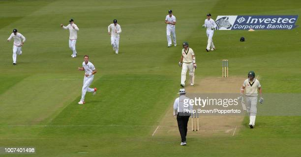 Stuart Broad of England celebrates after taking his eighth wicket of the innings Nathan Lyon of Australia for 9 runs as Australia are all out for 60...