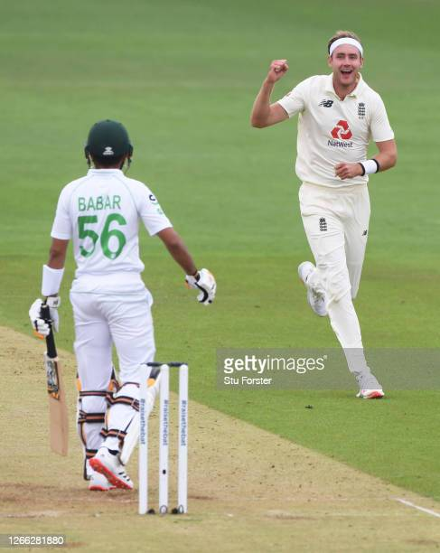 Stuart Broad of England celebrates after taking the wicket of Babar Azam of Pakistan during Day Two of the 2nd #RaiseTheBat Test Match between...