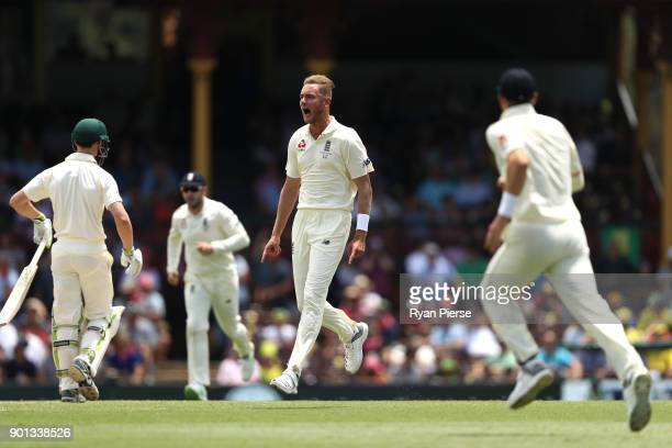 Stuart Broad of England celebrates after taking the wicket of Cameron Bancroft of Australia during day two of the Fifth Test match in the 2017/18...
