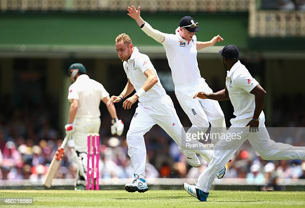 Stuart Broad of England celebrates after taking the wicket of George Bailey of Australia during day one of the Fifth Ashes Test match between...