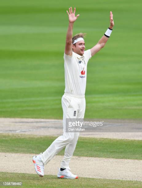 Stuart Broad of England celebrates after taking the wicket of Jason Holder of West Indies during Day Three of the Ruth Strauss Foundation Test, the...