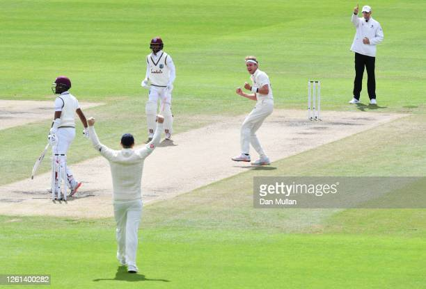 Stuart Broad of England celebrates after taking the wicket of Kraigg Brathwaite of West Indies for his 500th Test Wicket during Day Five of the Ruth...