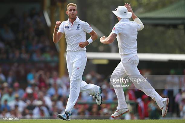 Stuart Broad of England celebrates after taking the wicket of Michael Clarke of Australia during day two of the Fifth Ashes Test match between...