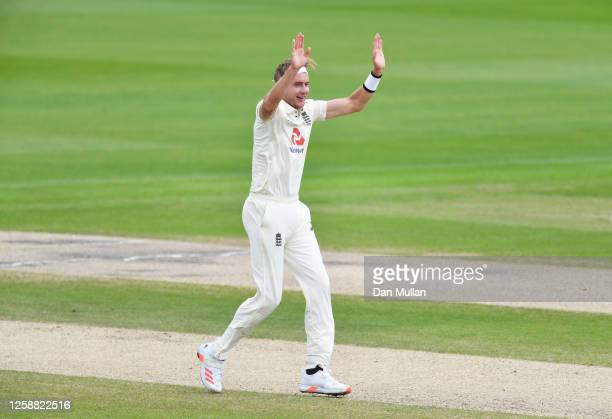 Stuart Broad of England celebrates after taking the wicket of Rahkeem Cornwall of West Indies during Day Three of the Ruth Strauss Foundation Test,...