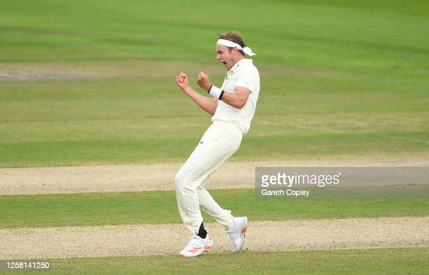 Stuart Broad of England celebrates after taking the wicket of Roston Chase of West Indies during Day Two of the Ruth Strauss Foundation Test, the...