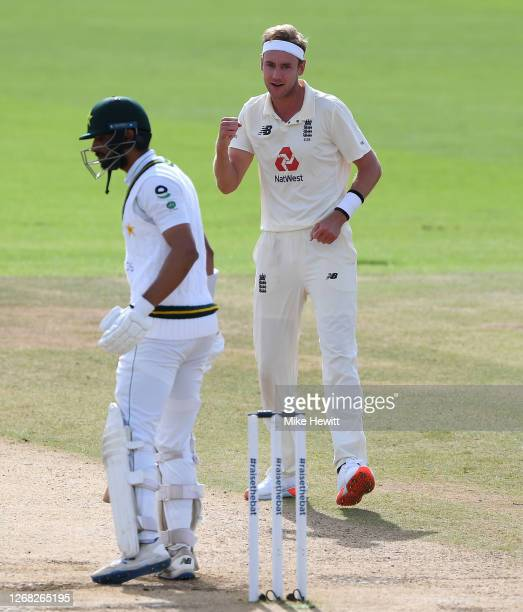 Stuart Broad of England celebrates after taking the wicket of Shan Masood of Pakistan during Day Four of the 3rd #RaiseTheBat Test Match between...