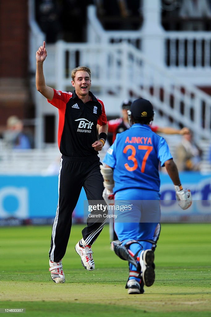 Stuart Broad (L) of England celebrates after trapping Rajinkya Rahane of India lbw during the 4th Natwest One Day International match between England and India at Lord's Cricket Ground on September 11, 2011 in London, United Kingdom.