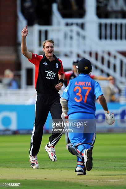 Stuart Broad of England celebrates after trapping Rajinkya Rahane of India lbw during the 4th Natwest One Day International match between England and...