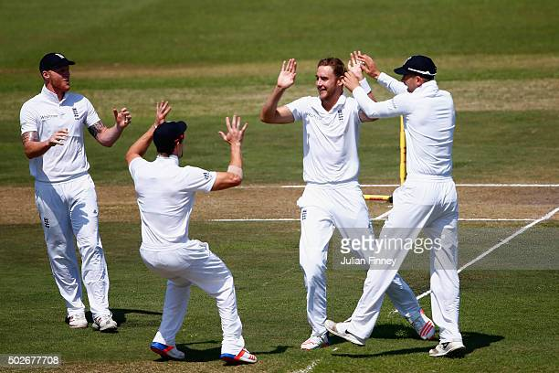 Stuart Broad of England celebrates bowling out Temba Bavuma of South Africa during day three of the 1st Test between South Africa and England at...