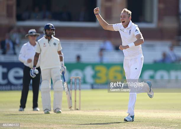 Stuart Broad of England celebrates dismissing Ajinkya Rahane of India during day three of 2nd Investec Test match between England and India at Lord's...