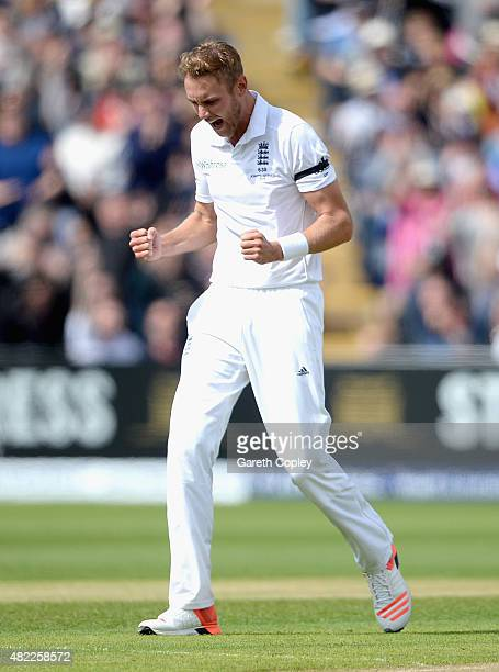 Stuart Broad of England celebrates dismissing Chris Rogers of Australia during day one of the 3rd Investec Ashes Test match between England and...