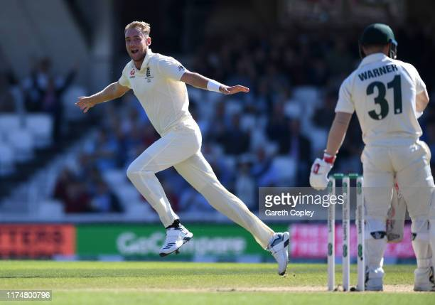 Stuart Broad of England celebrates dismissing David Warner of Australia during day four of the 5th Specsavers Ashes Test between England and...