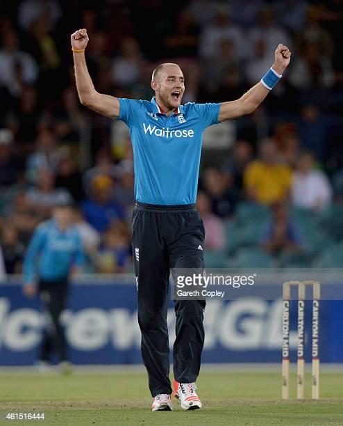 Stuart Broad of England celebrates dismissing Glenn Maxwell of the Prime Minister's XI during the tour match between the Prime Ministers XI and...