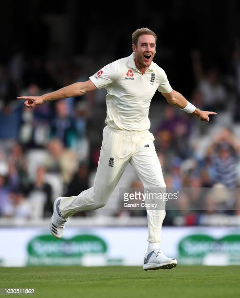 Stuart Broad of England celebrates dismissing India captain Virat Kohli during day four of the Specsavers 5th Test match between England and India at...