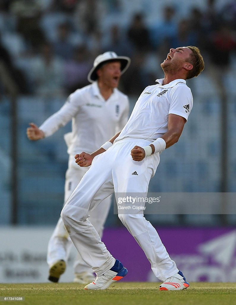 Stuart Broad of England celebrates dismissing Kamrul Islam Rabbi of Bangladesh during the 4th day of the 1st Test match between Bangladesh and England at Zohur Ahmed Chowdhury Stadium on October 23, 2016 in Chittagong, Bangladesh.