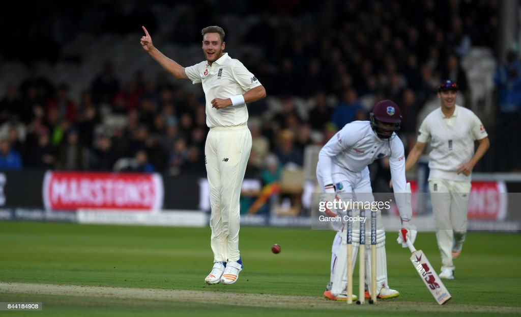 Stuart Broad of England celebrates dismissing Kyle Hope of the West Indies during day two of the 3rd Investec Test match between England and the West Indies at Lord's Cricket Ground on September 8, 2017 in London, England.