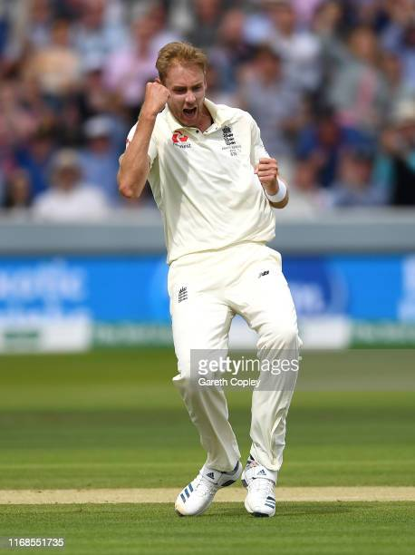 Stuart Broad of England celebrates dismissing Matthew Wade of Australia during day four of the 2nd Specsavers Ashes Test match at Lord's Cricket...