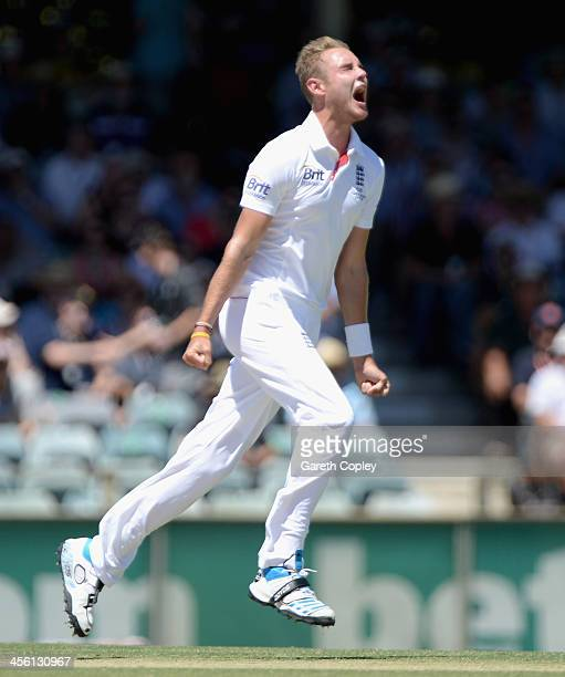 Stuart Broad of England celebrates dismissing Mitchell Johnson of Australia during day two of the Third Ashes Test Match between Australia and...