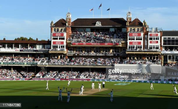 Stuart Broad of England celebrates dismissing Pat Cummins of Australia during day four of the 5th Specsavers Ashes Test between England and Australia...
