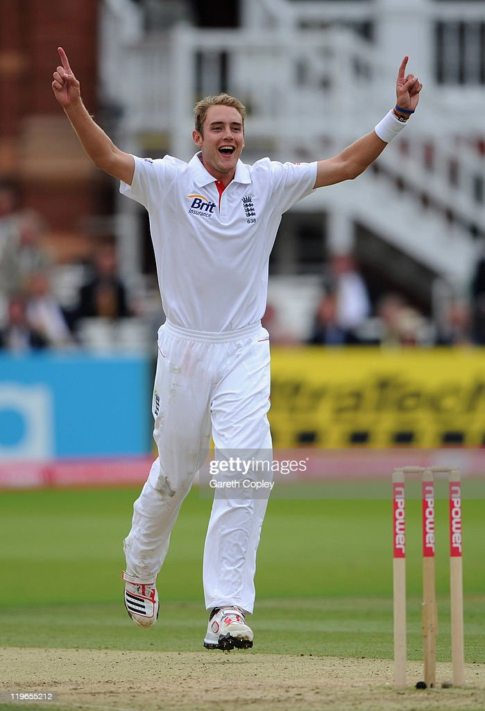 Stuart Broad of England celebrates dismissing Praveen Kumar of Indian during the first npower test match between England v India at Lord's Cricket Ground on July 23, 2011 in London, England.