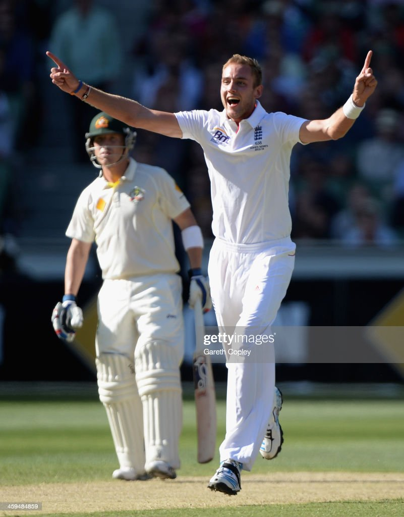 Stuart Broad of England celebrates dismissing Ryan Harris of Australia during day two of the Fourth Ashes Test Match between Australia and England at Melbourne Cricket Ground on December 27, 2013 in Melbourne, Australia.
